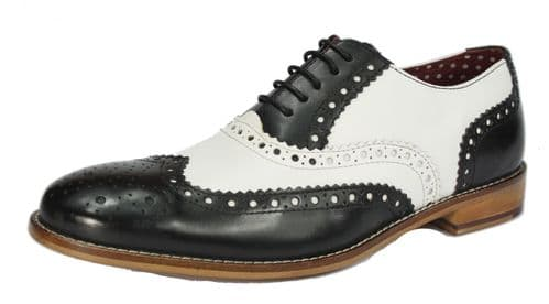 London Brogues Gatsby Lace Up Shoes Black / White